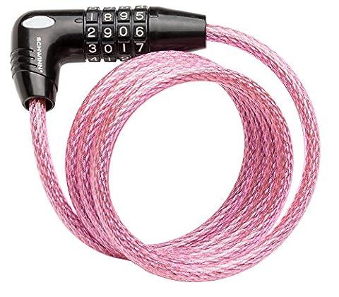 Schwinn SW77862-3 Coil Combo Lock, Pink, 5-Feet x 8mm (In Door Bike Stand)