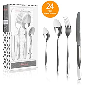 24 Pieces Flatware Sets Silverware Sets, Stainless Steel Cutlery Sets  Mirror Polished Tableware Sets,
