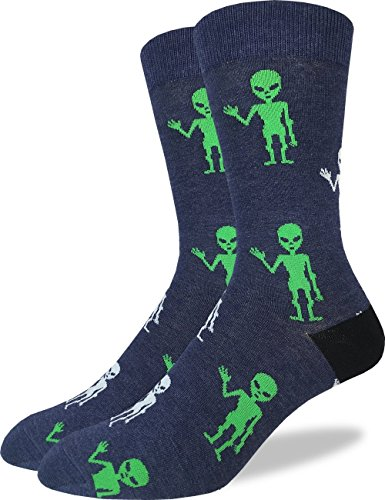Good Luck Sock Mens Aliens Crew Socks - Grey, Adult Shoe Size 7-12
