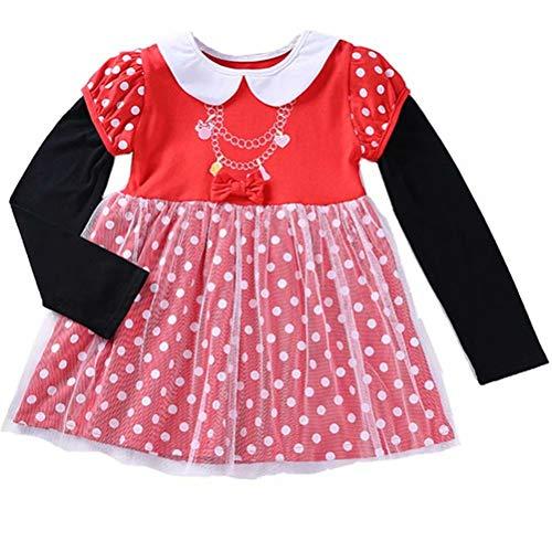 Girls Long Sleeve Polka Dot Mouse Princess Dress