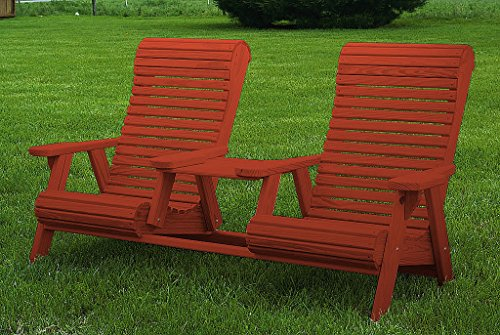- Furniture Barn USA Pressure Treated Pine High Comfort Roll Back Settee with Center Table - Mahogany Stain