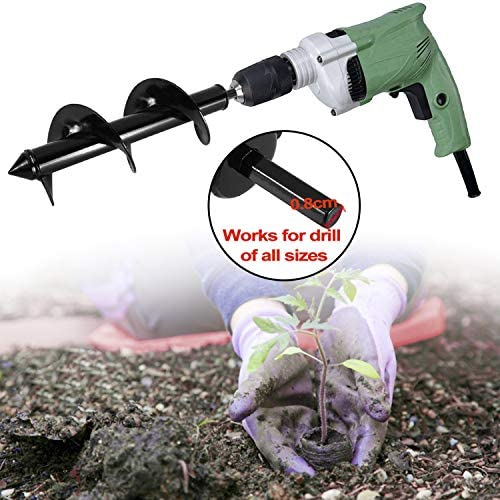 """Toolly Auger Drill Bit Set, Earth Auger Bit, 3"""" x 10"""" Garden Auger Bit for Digging Plant Flower Bulb with Garden Genie Gloves, Post & Umbrella Hole Digger Tool for 3/8"""" Hex Drive Drill"""