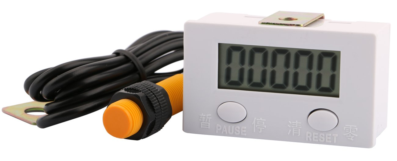0-99999 Digit Forward LCD Digital Tally Counter Panel Gauge, Yeeco 5-Digit Shockproof Electronic Punch Counter Totalizer Accumulator Tester with Magnetic Induction Switch