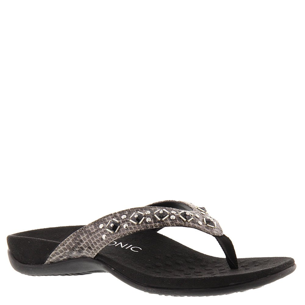 Vionic Women's, Floriana Decorated Thong Sandals Gray Snake 7 M