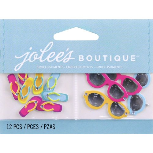 Jolee's Boutique 50-00457 Scrapbooking Embellishment, Flip Flops and Sunglasses