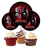 12 Happy Birthday Deadpool Inspired Party Picks, Cupcake Picks, Cupcake Toppers #1