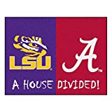 Fanmats NCAA House Divided: LSU/Alabama Rug, 34'' x 45''/Small, Black