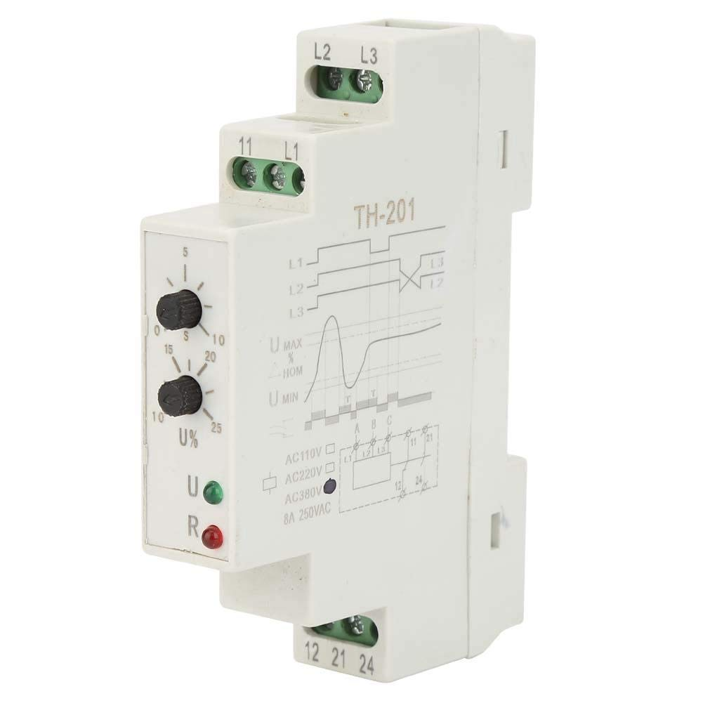 Phase Sequence, 380V TH-201 Power Protection Relay Three Phase Sequence Control Relays Voltage Monitor