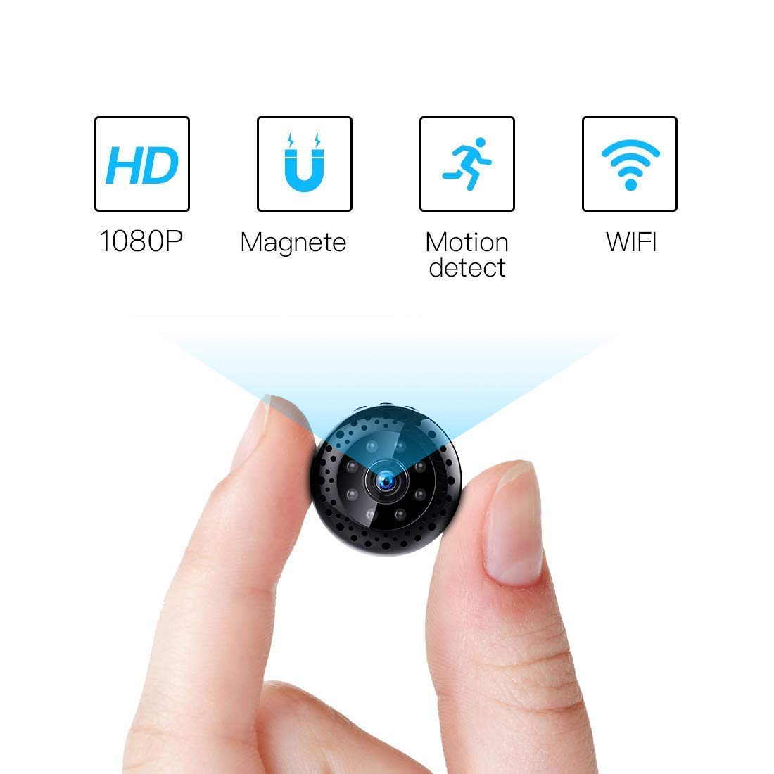 FREDI Cámara espía HD 1080P WiFi Cámara Videocámara Oculta Mini Cámara de vigilancia inalámbrica Seguridad para Interiores Visión Nocturna: Amazon.es: ...
