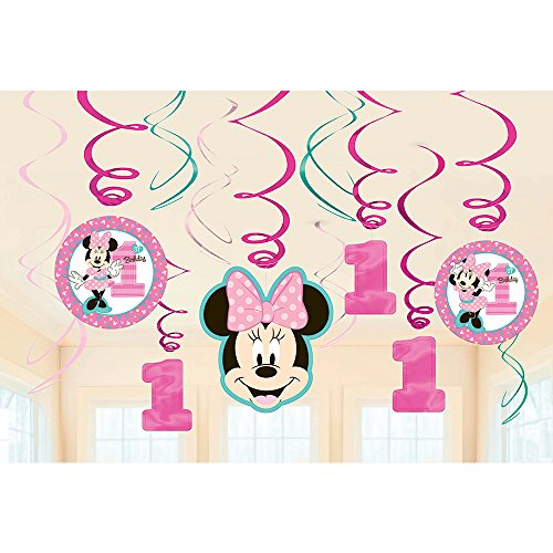1st Birthday Minnie Mouse Swirl Decorations 12 count Party Supplies Minnie Fun to be One!