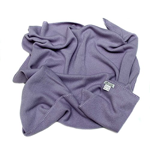 100% Cashmere Baby Blanket, 4 Ply Mongolian 26/2 Yarn Cashmere, Hand-Knitte, Purple © Moksha Cashmere by Moksha Cashmere