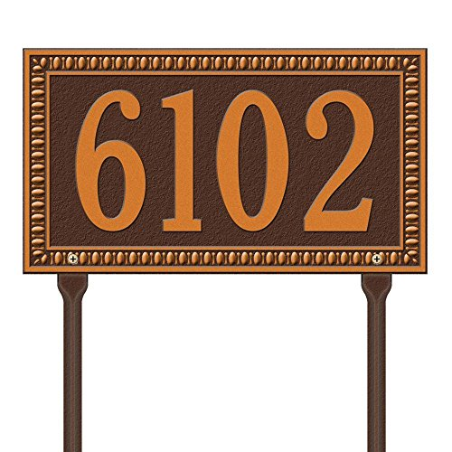 Whitehall Products Egg and Dart Rectangular Antique Copper Standard Lawn One Line Address Plaque