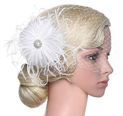 BABEYOND Bridal Wedding Fascinator Mesh Feather Fascinator Hair Clip Hair Fascinator Veil Crystal Wedding Veil (A-White)