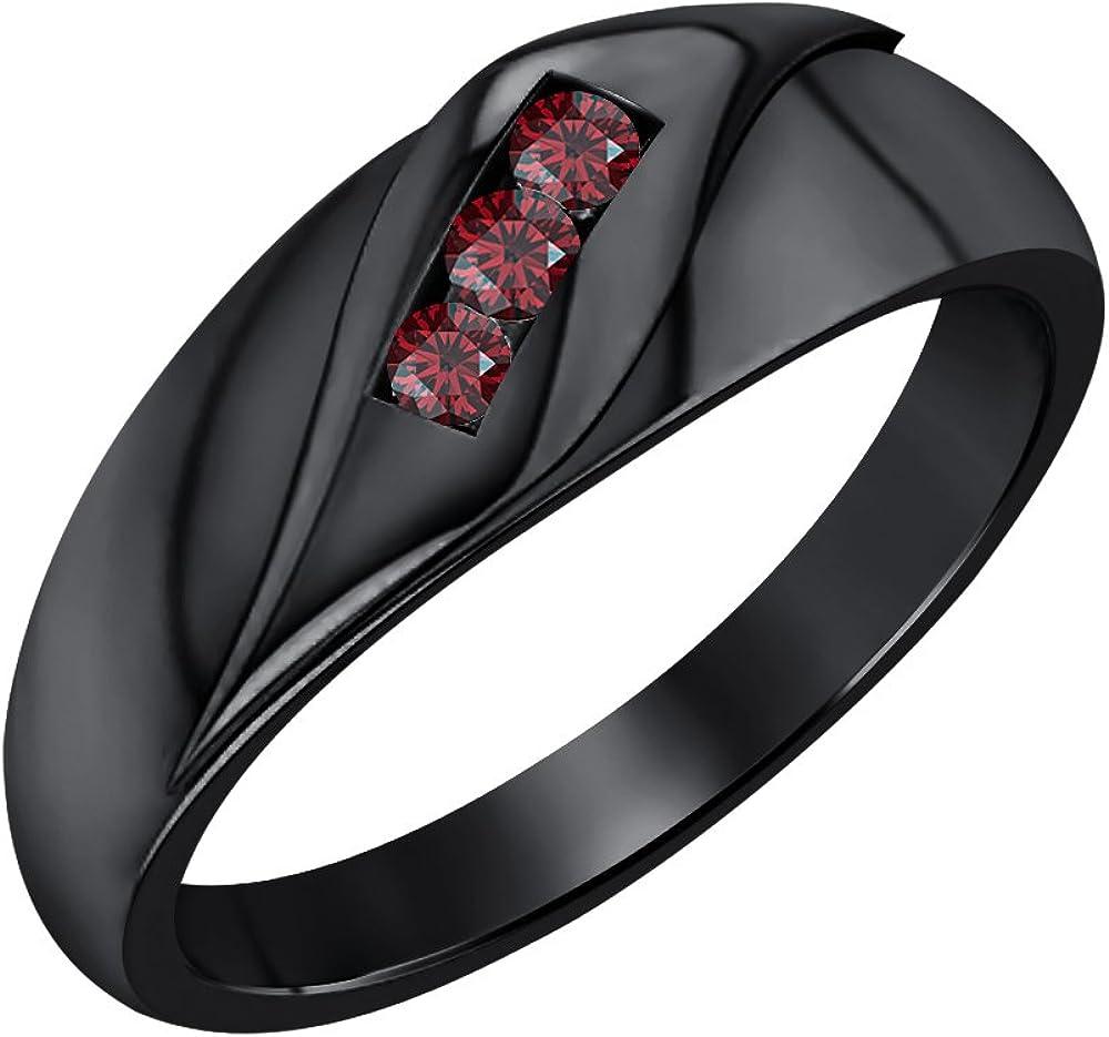 SVC-JEWELS 14K Black Gold Plated 1.65ctw Round Cut Created Garnet Mens Wedding Three Stone Anniversary Band Ring
