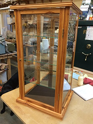 Wood / Glass - Display Case for Collectables -- Tiger Wood/w Special Trim Work
