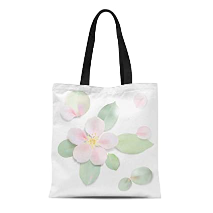a5b6cd297df9 Amazon.com: Semtomn Canvas Tote Bag Shoulder Bags Leaf White Pastel ...