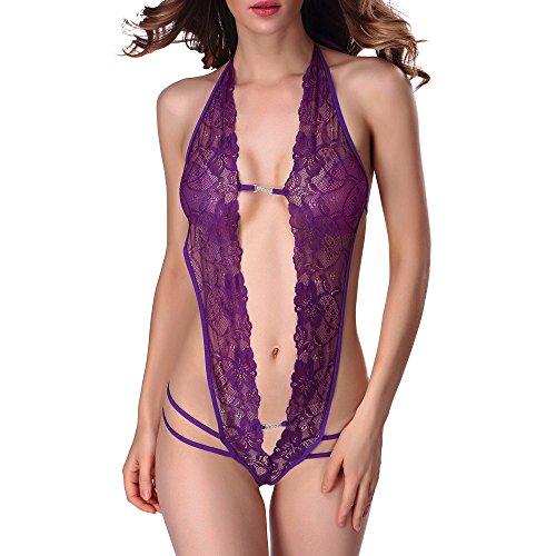 ZoePets Women Sexy Floral Lace Strappy Teddy Lace-ups Hollow Out Bodysuit Temptation Jumpsuit(Purple,2XL) ()