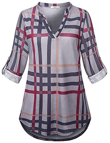 Viracy Long Sleeve Shirts for Women, Oversize Plaid Tops for Women Tunic XXL 3/4 Sleeve Fall Clothes Birthday Gift Mandarin Collared Blouses Henleys Nice Stylish Loose Fit Polo Grey (3/4 Sleeve Birthday)