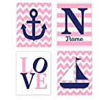 Nautical Baby Girl Nursery Decor Pink Navy Blue Sailboat Anchor LOVE Personalized Name Art Nautical Baby Nursery Decor Prints SET OF 4 UNFRAMED PRINTS