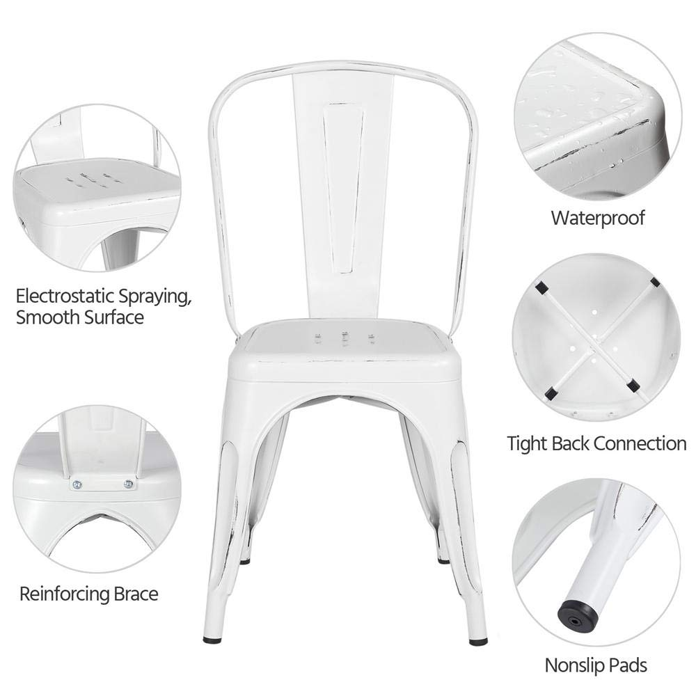 Yaheetech Metal Dining Chairs Indoor/Outdoor Stackable Side Chairs Coffee Chair Distressed White (Set of 4) by Yaheetech (Image #3)
