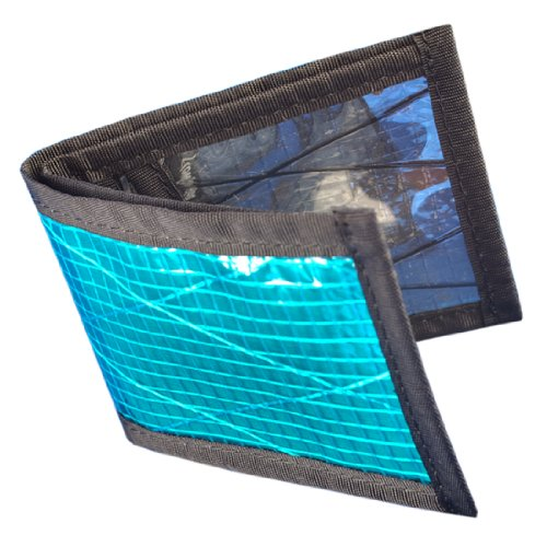 (Flowfold Vanguard Recycled Sailcloth Slim Front Pocket Bifold Wallet - Light Weight - Minimalist - Made in the USA - Cyan)