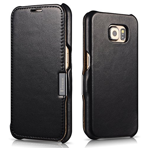 Benuo Luxury Series Thin Grain Leather Flip Magnetic Closure Case with Card Slot for Samsung Galaxy S6 - Black