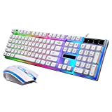 Joint LED Rainbow Color Backlit Adjustable USB Wired Gaming Keyboard and Mouse Set (White) For Sale