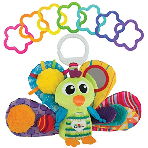 (LAMAZE - Jacque The Peacock Gift Set, Support Baby's Development with Bright Colors, Fun Textures, and a Self-Discovery Mirror, Clips to Carriers, Strollers and Diaper Bags, 0 Months and Older)