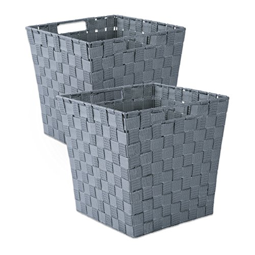 DII Durable Trapezoid Woven Nylon Storage Basket for Organizing Your Home, Office, or Closets (Medium Bin - 11x11x11