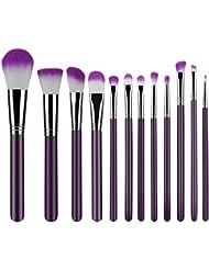 Makeup Brushes 12 Piece Set Synthetic Foundation Blending Blush Powder Concealers Makeup Brush Set Eyeliner Face Brush Makeup Brushes Kit Cream Cosmetics Brushes Purple