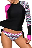 Aleumdr Womens Sexy Long Sleeve Vibrant Print Side Ties Color Block Tankini Swimsuit Rash Guard Swimwear with Swim Briefs Plus Size 2XL Size Rosy