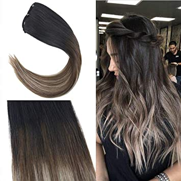 [Coupon will be valid for 6 days]Youngsee 7Pcs Balayage Ombre Clip in Hair  Extensions Human Hair