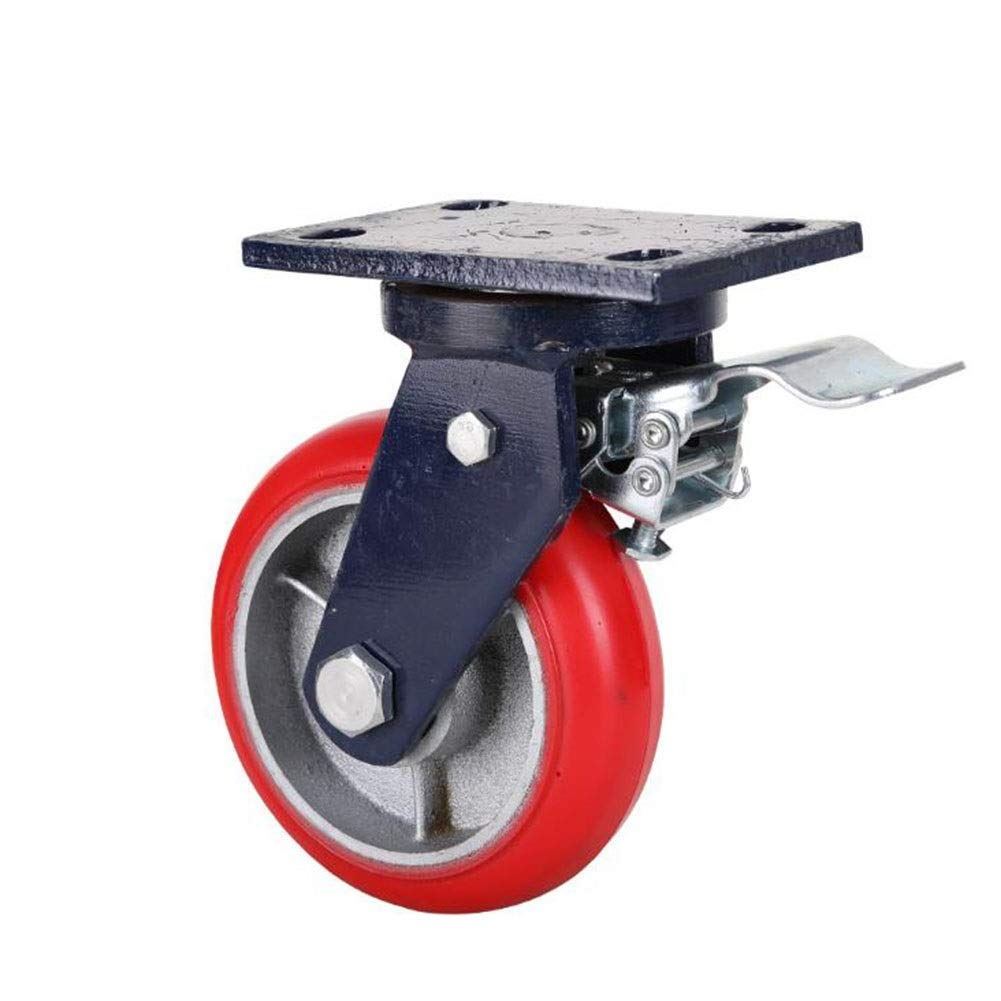 MUMA Heavy Duty Iron Core Polyurethane Caster Industrial Casters Hand Push Cart Flat Wheel 4/5/6/8 Inch (Color : Brake wheel, Size : 4 inches)