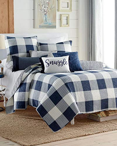 Home Collection Navy Blue Gray White Soft Cozy Farmhouse Plaid Stripe Luxury Quilt Set Bedding Full Queen Size