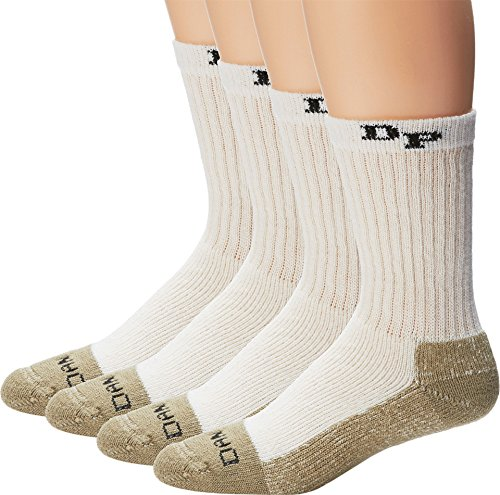 Dan Post  Men's Dan Post Work & Outdoor Socks Mid Calf Heavyweight Steel Toe 4 pack Natural X-Large (Sock Heavyweight Boot Mens)
