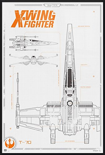Star Wars: Episode VII - The Force Awakens - Framed Movie Poster/Print on b-wing schematics, at-at schematics, a wing fighter schematics, tie interceptor schematics, minecraft schematics, y-wing schematics, halo warthog schematics,