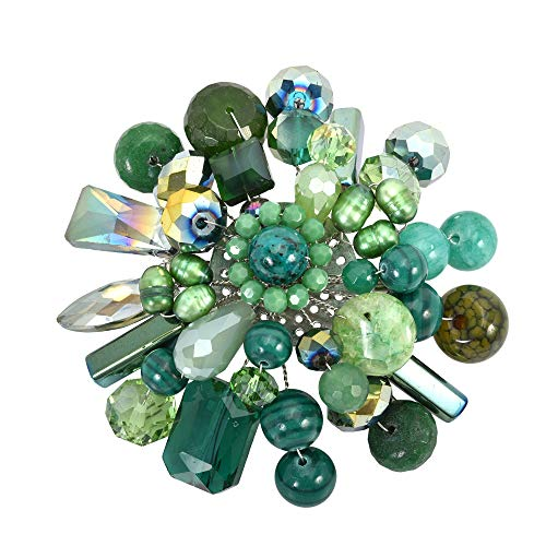 Green Fusion Cultured Freshwater Green Pearl & Simulated Aventurine & Fashion Crystal Floral Pin or Brooch