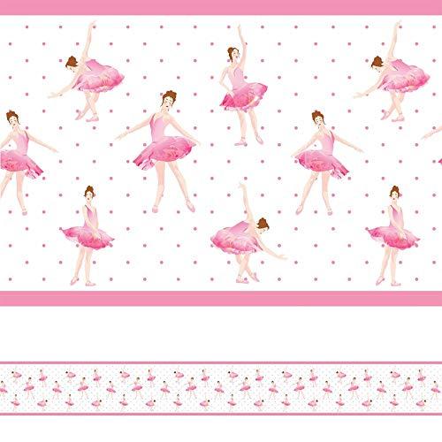 Faixa Decorativa Adesiva Bailarina Infantil Rosa 6mx15cm