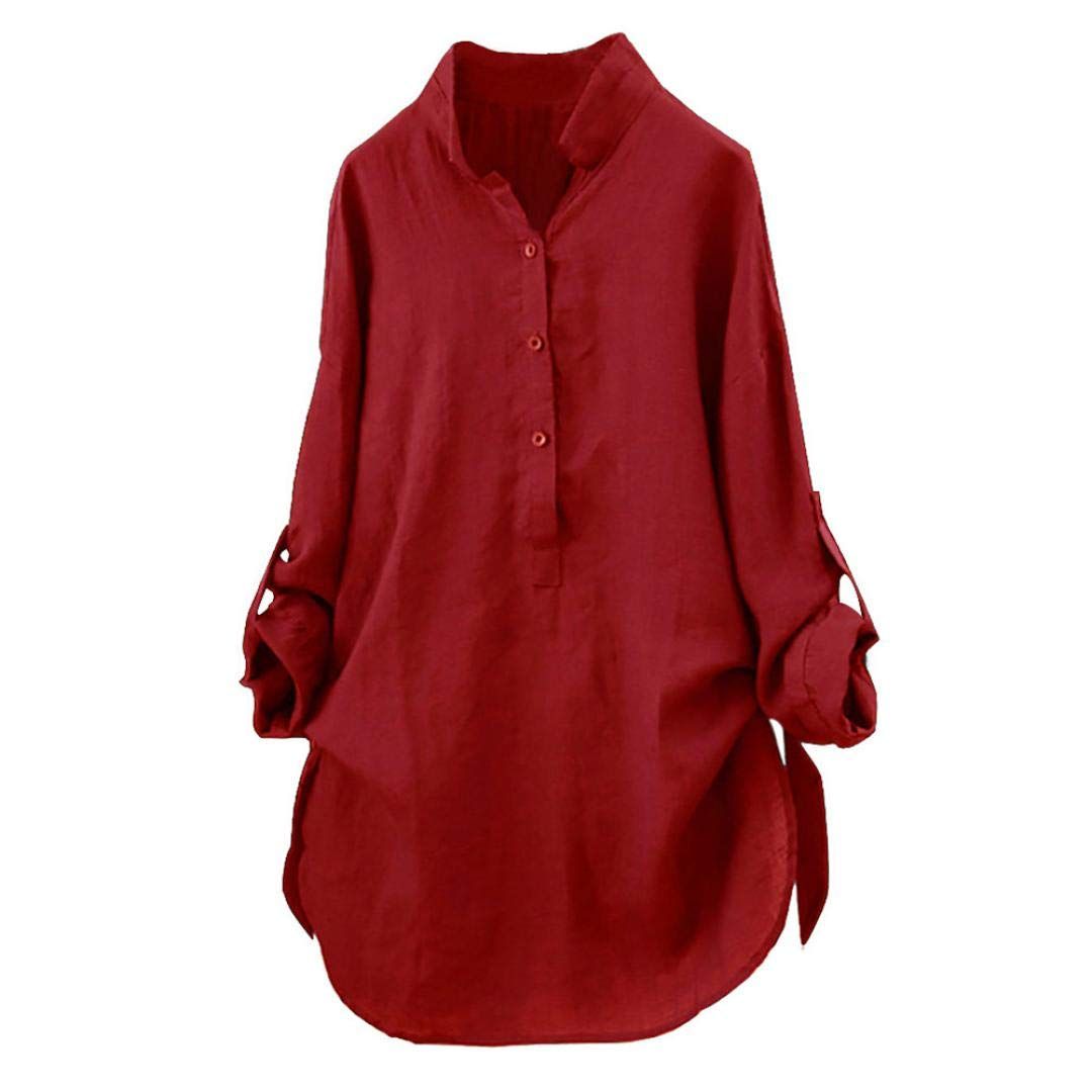Orangeskycn Women Stand Collar Long Sleeve Roll-up Sleeve Loose Soft Tunic Tops T Shirt Blouse