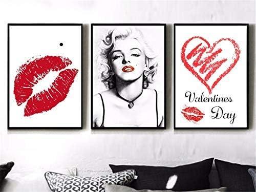 壁掛け 壁飾りマリリン・モンローのセクシーな赤い唇絵画 ポスター 装飾ホームおよびオフィス50x70cmx3フレームなし