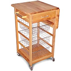 Catskill Craftsmen Single Drop Leaf Kitchen Basket Cart