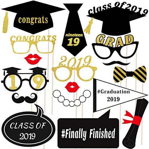 (Graduation Photo Props Glitter Graduation Phtoto Booth Props OULII 2018 Graduation Party Decorations Pack of)