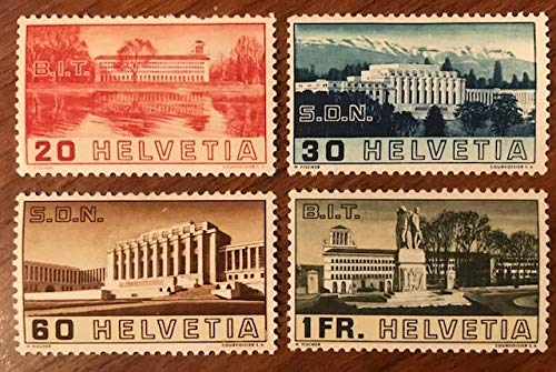 (Switzerland Scott 238-241 20c View of Labor Building from Lake Geneva, 30c Palace of League of Nations, 60c Main Building and 1F Labor Building and Albert Thomas Monument Opening of)