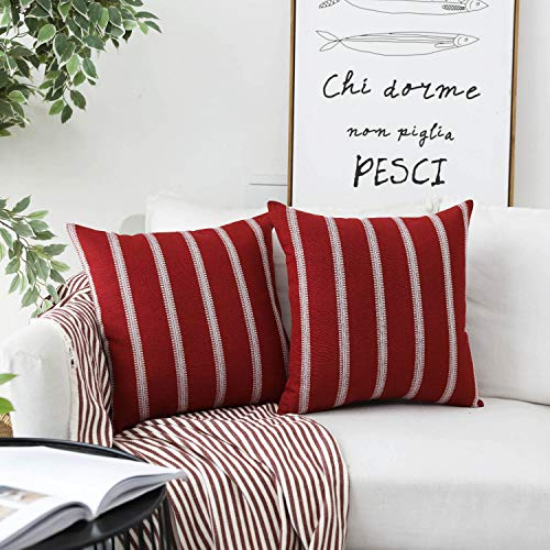 HOME BRILLIANT Embroidered Striped European Euro Pillow Case Sham Covers for Bench Garden Girl's Room, 2 Pack, 24x24 inches(60cm), Red (Burgundy Euro Pillow Shams)