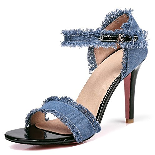 Heels Strappy Toe Open Dressy Blue Stiletto Buckled Light Aisun Womens Sandals High Denim Shoes Strap Ankle 8Ig5wq