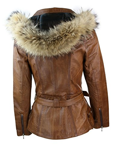 28d5ff082e133 Manteau Veste Parka d'hiver Marron pour Femme en Cuir véritable Capuche en  véritable Fourrure: Amazon.fr: Vêtements et accessoires