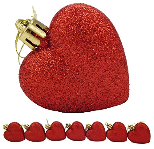 16 x 60mm Red Glitter Heart Shaped Christmas Tree Baubles -