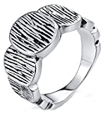 Gnzoe Men Stainless Steel Ring for Boy Father Bands Ring Disc Pattern Punk Style Silver Size 9