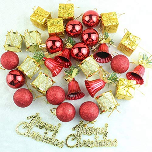 """69 Piece Assorted Shatterproof Christmas Ball Ornaments, Decorations Tree Balls Small Christmas Ornament Set for Festive Party Decoration 1.57""""(40mm) - Red & Silver -"""