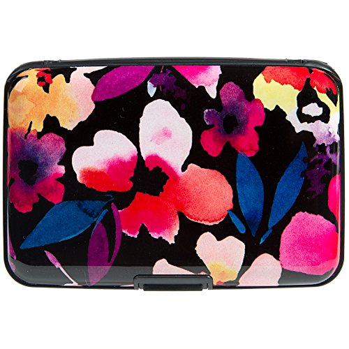 Aluminum Wallet RFID Blocking Metal Credit Card Holder Slim Hard Case (Watercolor Petals)